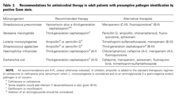 empiric meningitis tx IDSA guidelines